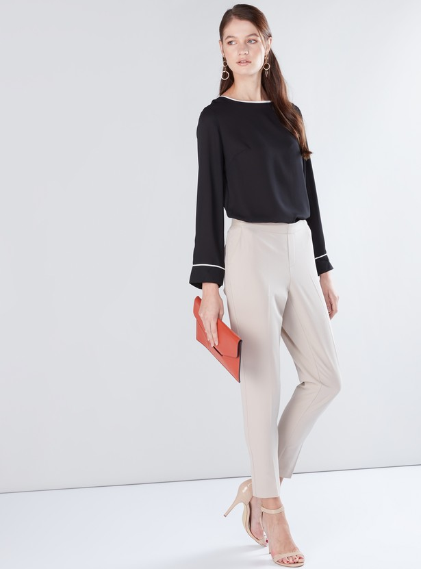 Piping Detail Top with Round Neck and Long Sleeves