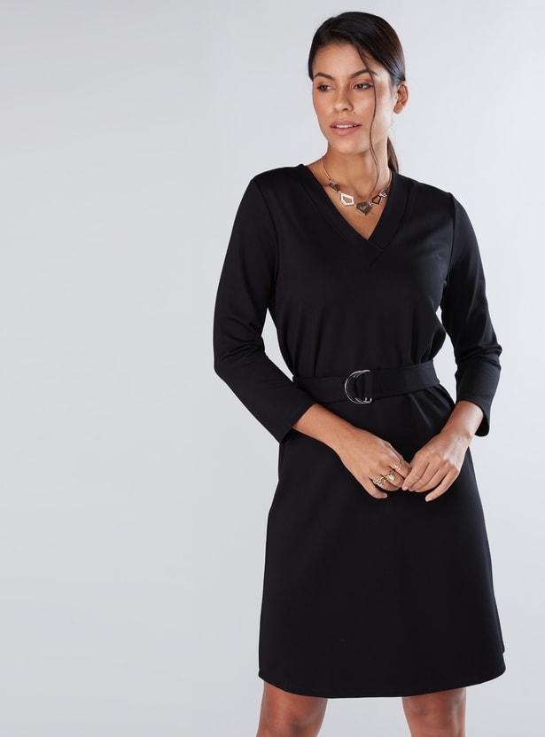 V-Neck Midi Dress with Long Sleeves
