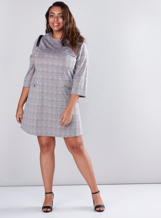 Chequered Midi Shift Dress with Pocket Detail