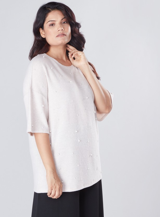Pearl Detail Top with Round Neck and Drop Shoulder Sleeves