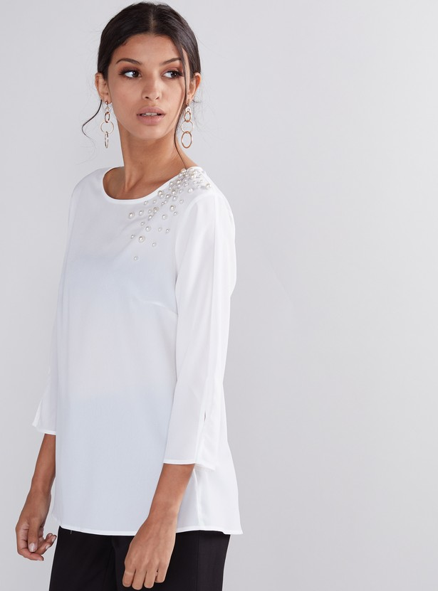 Pearl Detail Top with Round Neck and 3/4 Sleeves