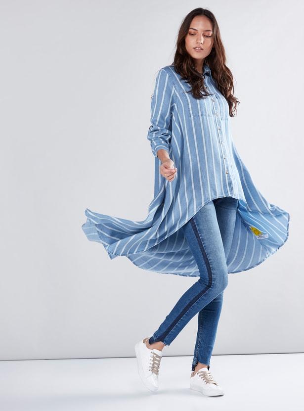 Striped Shirt Tunic with Asymmetric Hem