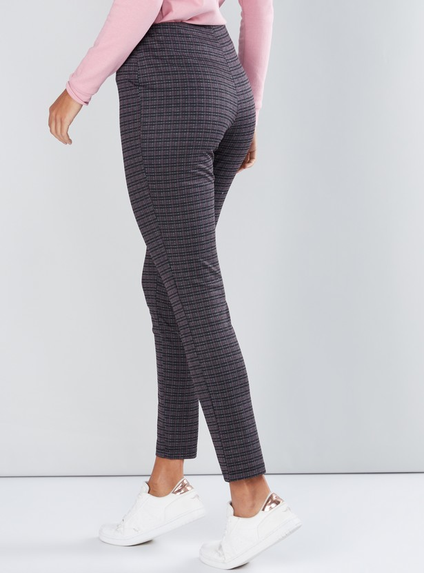 Chequered Ponte Pants with Elasticised Waistband
