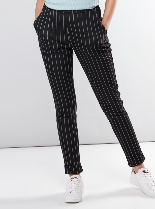 Striped Full Length Pants with Pocket Detail