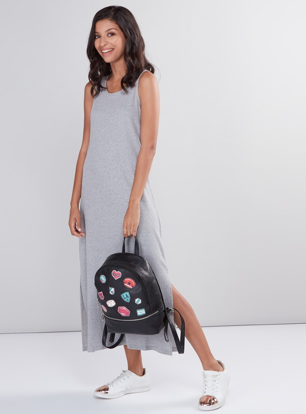 Ribbed Sleeveless Dress with Round Neck and Side Slit