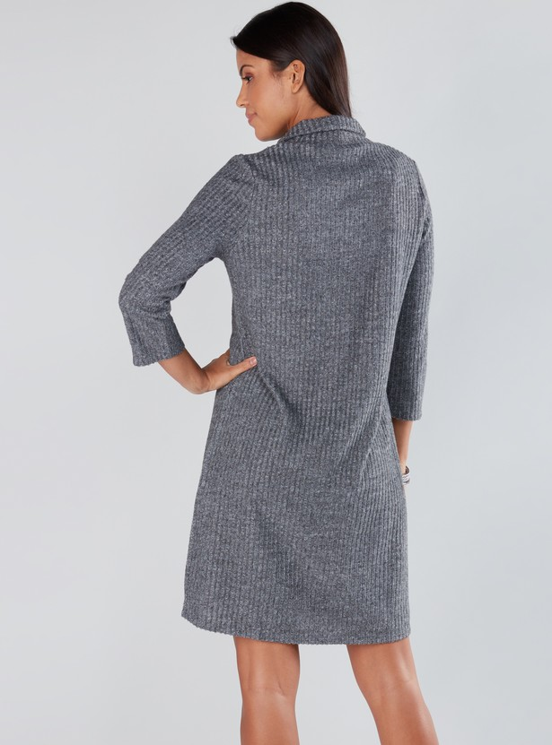 Textured Dress with High Neck and 3/4 Sleeves