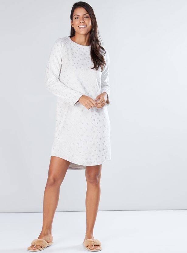 Printed Sleep Dress with Round Neck and Raglan Sleeves