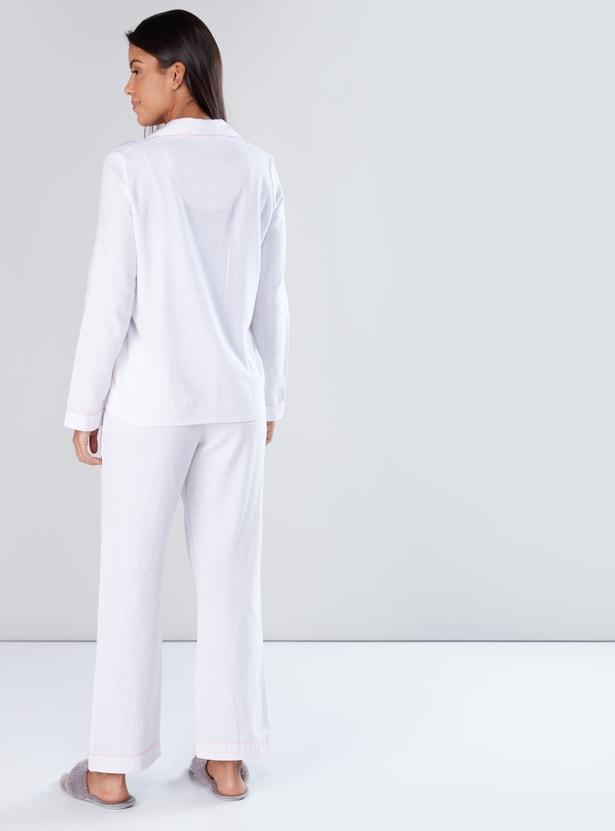 Long Sleeves Shirt and Full Length Pyjama Set