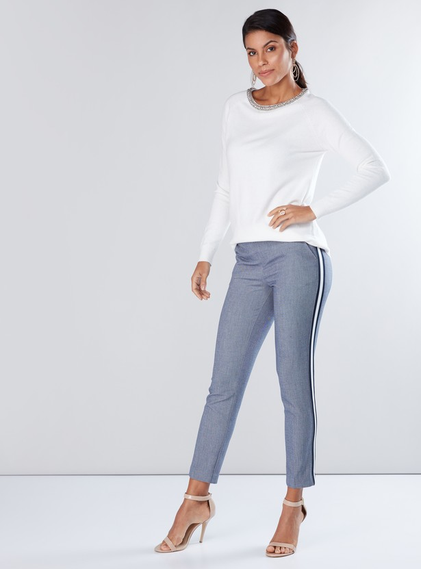 Embellished Sweater with Round Neck and Long Sleeves