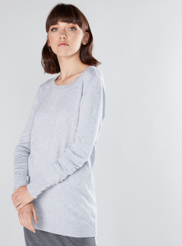 Textured Sweatshirt with Long Sleeves