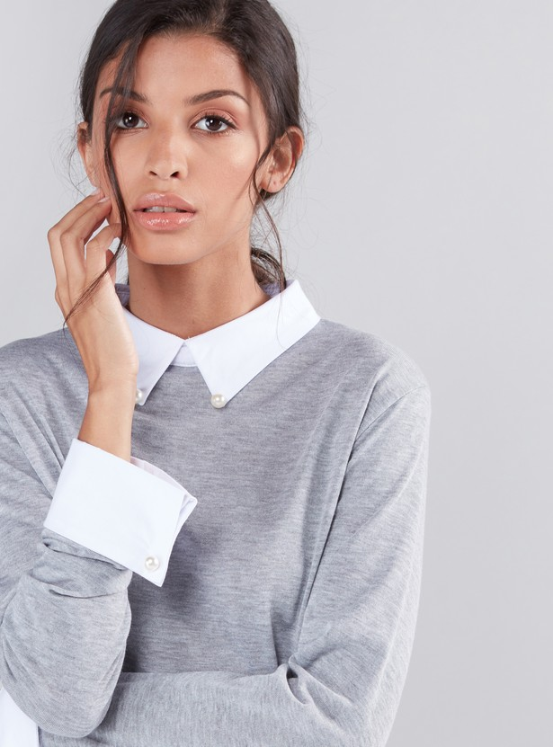 Striped Pearl Detail Top with Mock Collar and Long Sleeves