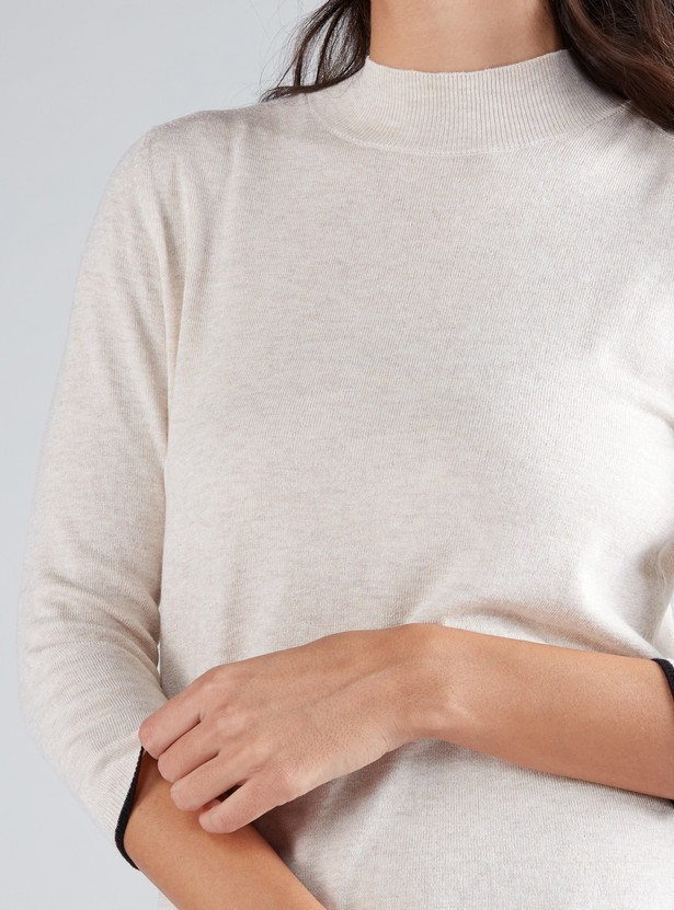 High-Neck Sweater with 3/4 Sleeves