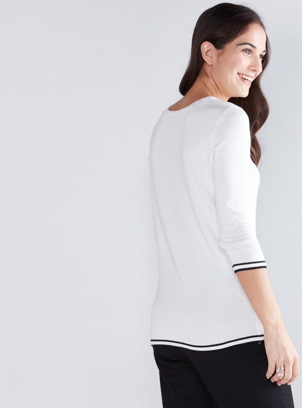 Round Neck Sweater with 3/4 Sleeves and Tipping Detail