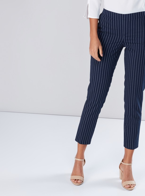Striped Cropped Pants with Elasticised Waistband and Pocket Detail
