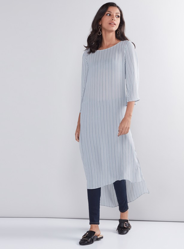 Striped Indo Ethnic Kurti with 3/4 Sleeves and High Low Hem