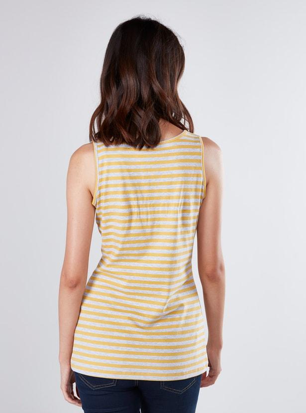 Striped Sleeveless Vest with Scoop Neck