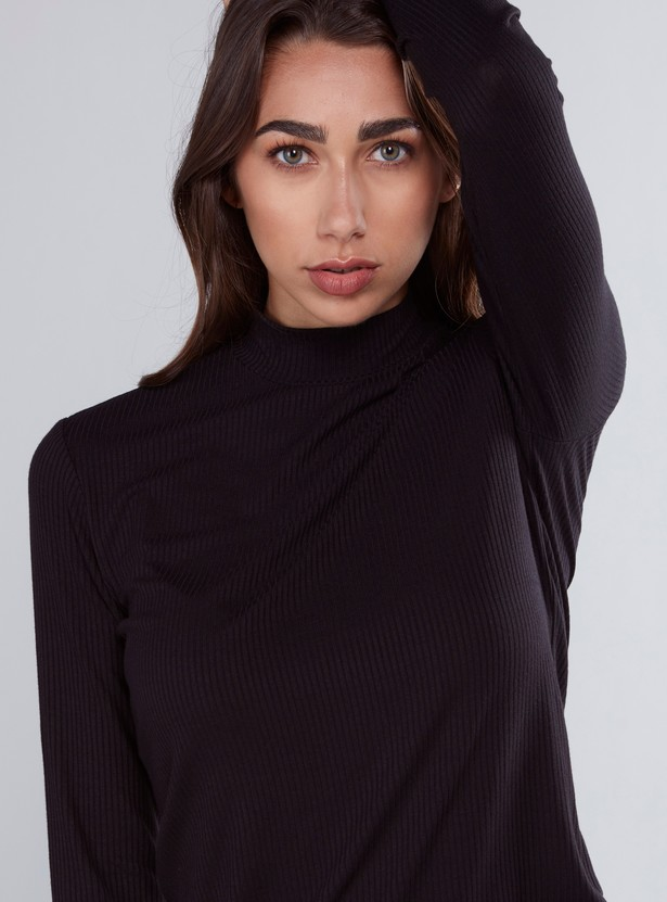 Ribbed Solid T-shirt with High Neck and Long Sleeves