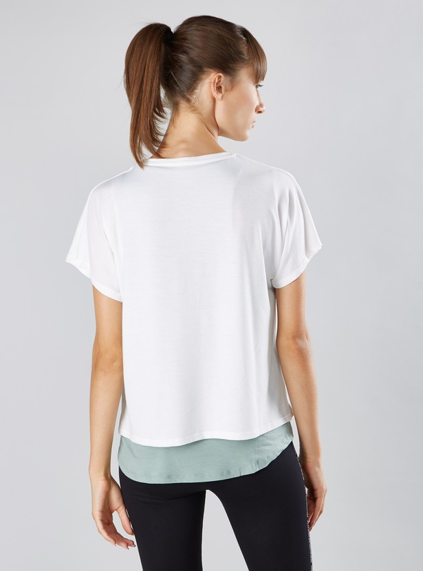 Printed Double Layer T-shirt with Short Sleeves