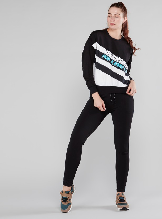 Graphic Printed Round Neck Sweatshirt with Long Sleeves