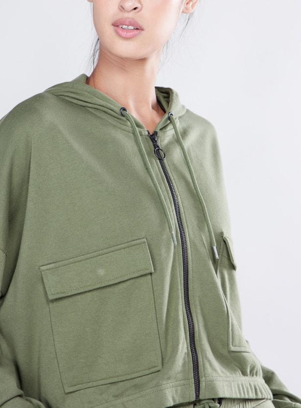 Solid Hoodie with Drop Shoulder Sleeves and Flap Pocket Detail