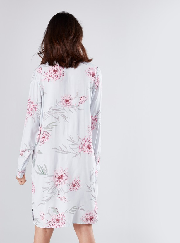Floral Print Sleep Dress with Long Sleeves