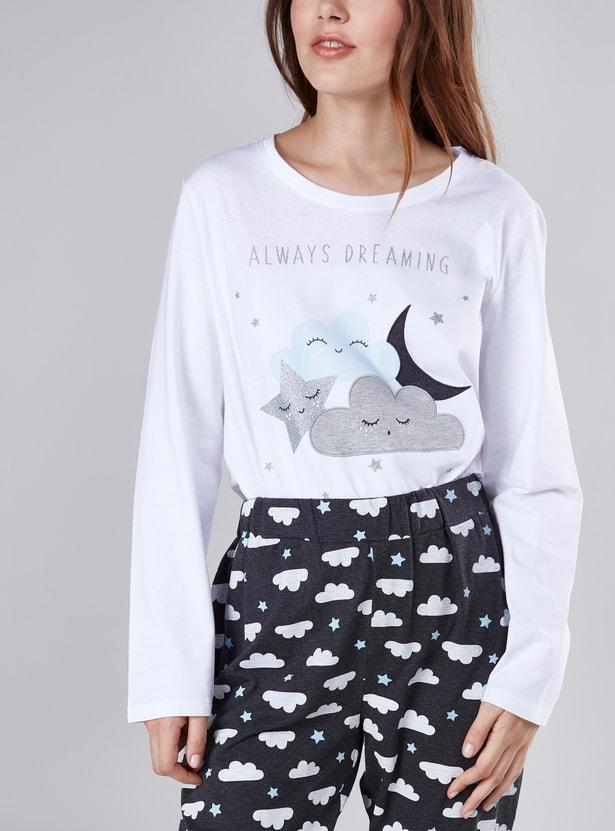 Printed Boat Neck T-shirt and Full Length Pyjama Set