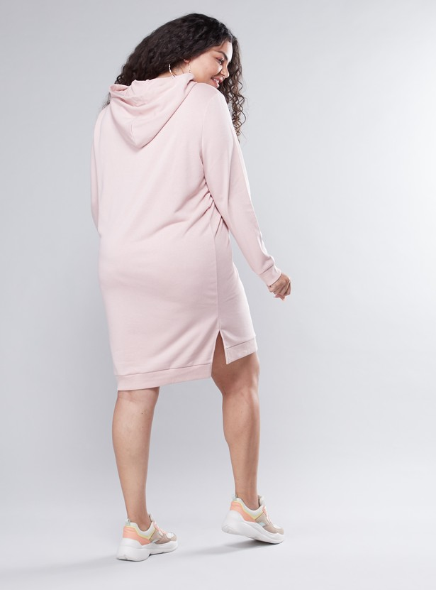 Plain Midi Shift Dress with Long Sleeves and Hood