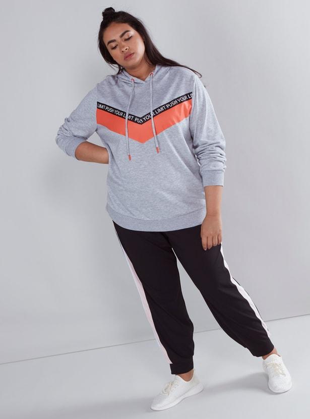 Printed Sweatshirt with Hood and Long Sleeves