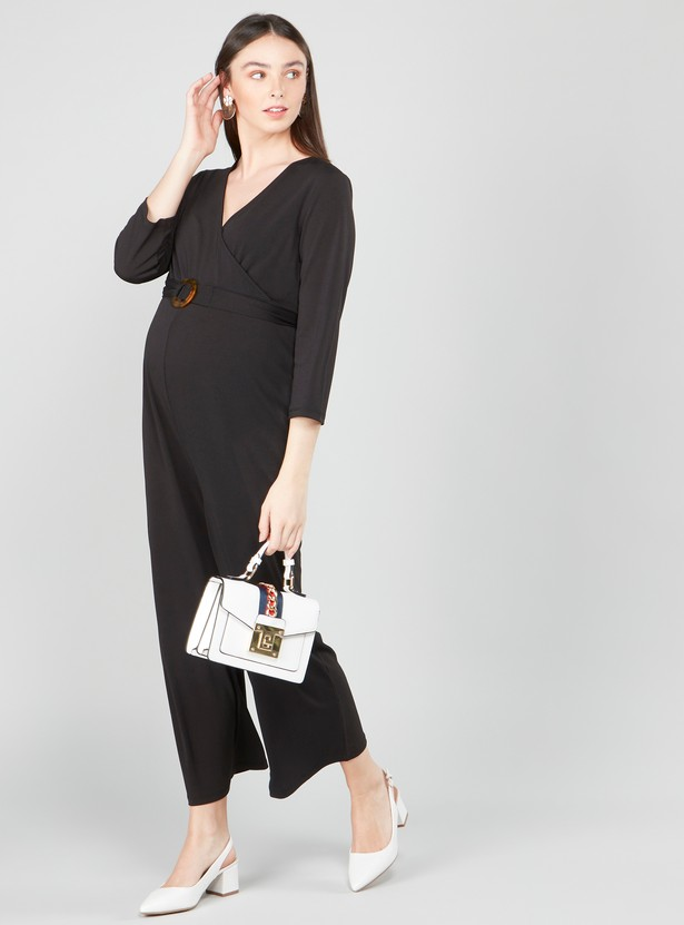 Plain Maxi Jumpsuit with V-neck and 3/4 Sleeves