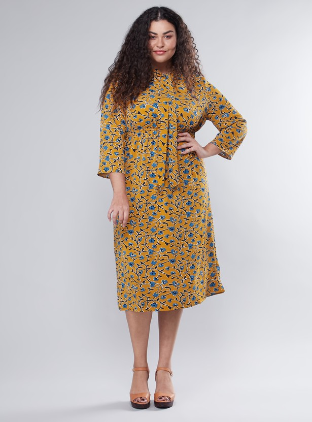 Printed Midi A-line Dress with Pussy Bow and Long Sleeves