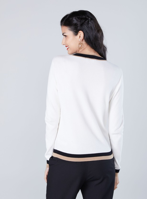 Contrast Tipping Sweater with Round Neck and Button Detailing