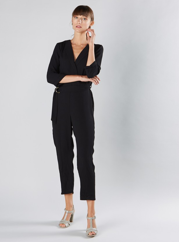 Solid Wrap Jumpsuit with Belt and 3/4 Sleeves