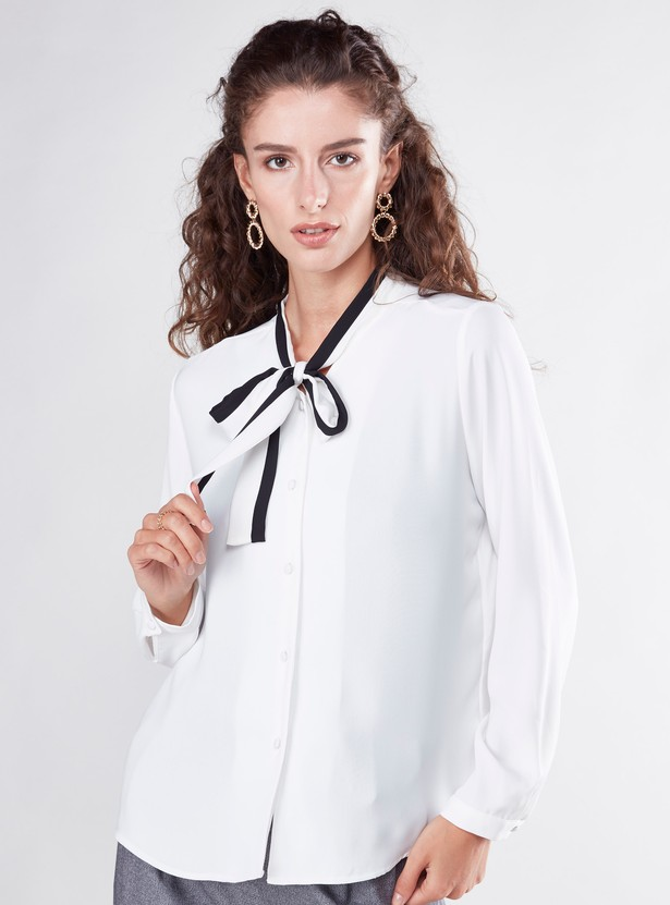 Plain Formal Shirt with Long Sleeves and Pussy Bow