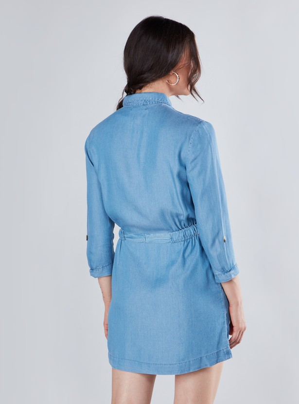 Solid Denim Mini Dress with 3/4 Sleeves and Front Knot Styling