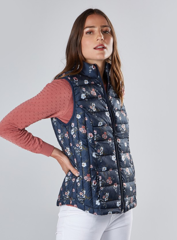 Floral Printed Sleeveless Gilet with High Neck