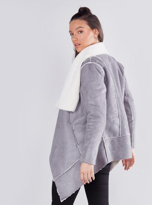 معطف بارزة الملمس بأكمام طويلة