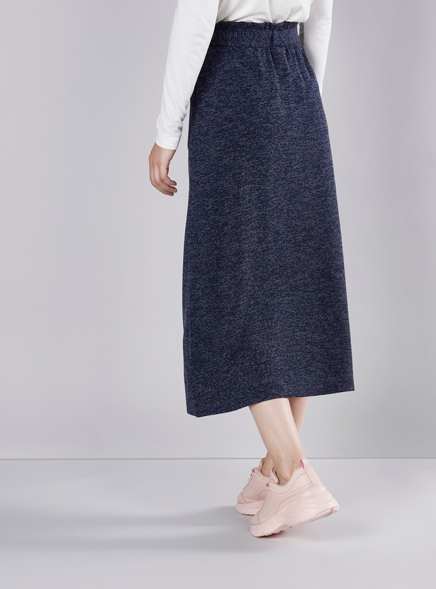Textured Midi A-line Skirt with Button Detail and Tie Ups