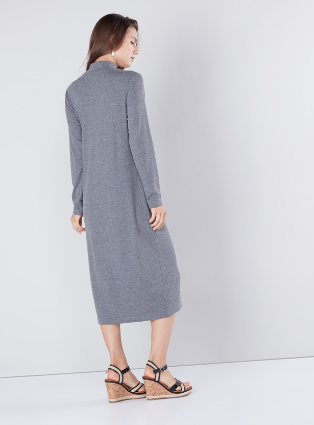 Textured Midi Shift Dress with Crew Neckline