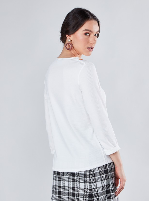 Solid Round Neck T-shirt with 3/4 Sleeves
