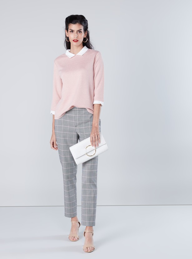 Textured Top with Contrast Spread Collar and 3/4 Sleeves