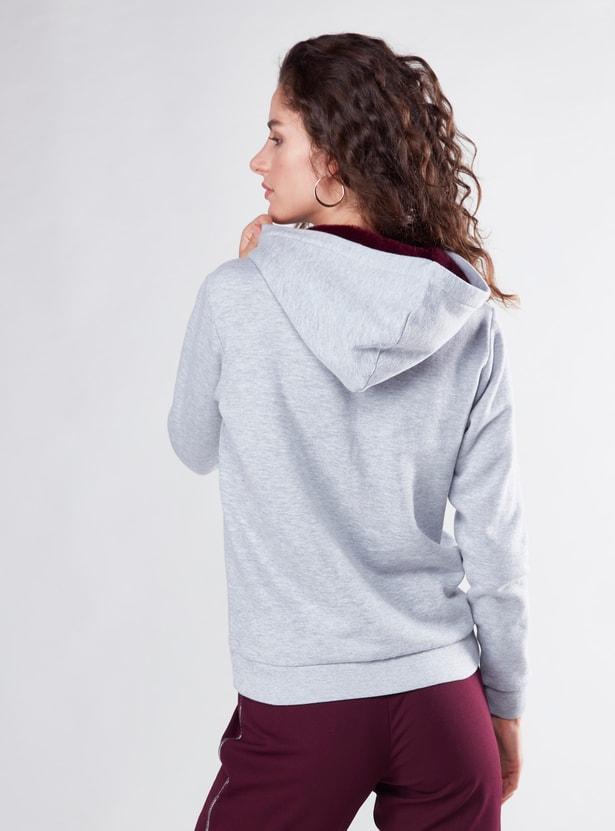 Textured Sweatshirt with Hood and Pockets