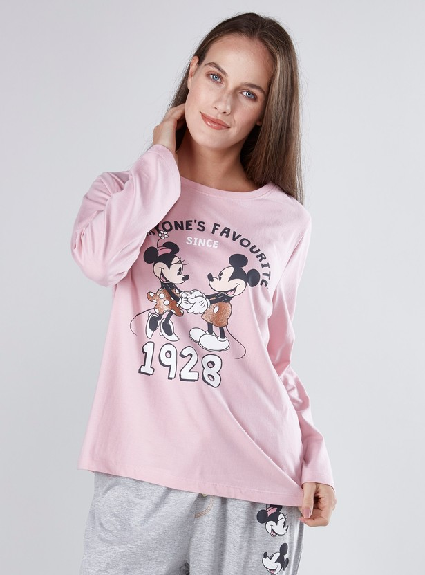 Mickey and Minnie Mouse Printed T-shirt and Pyjama Set