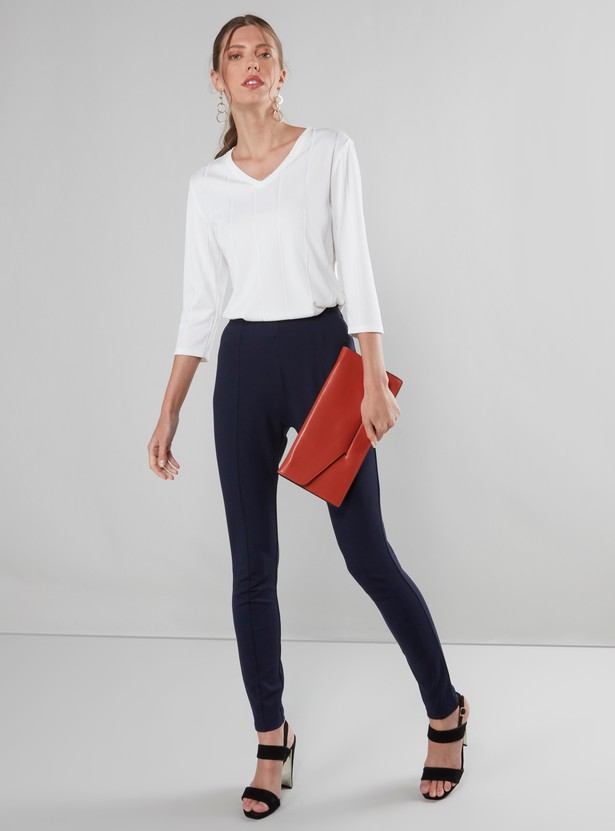 Ribbed V-neck Top with 3/4 Sleeves