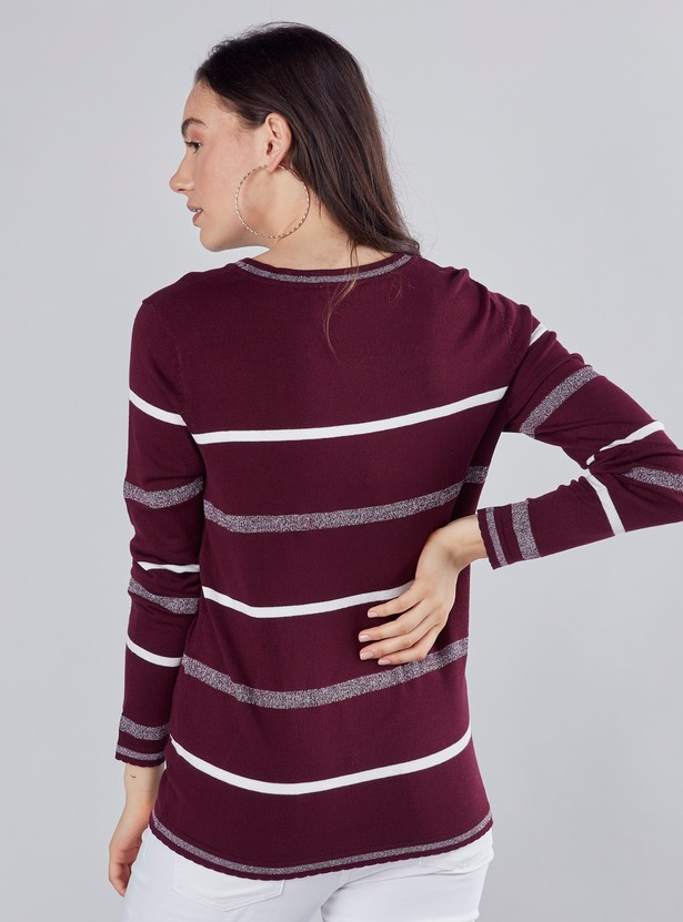 Striped Jumper with Round Neck and Long Sleeves