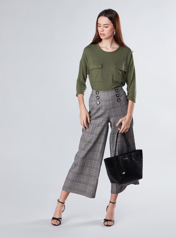 Chequered Wide Fit Palazzos with Button Detail