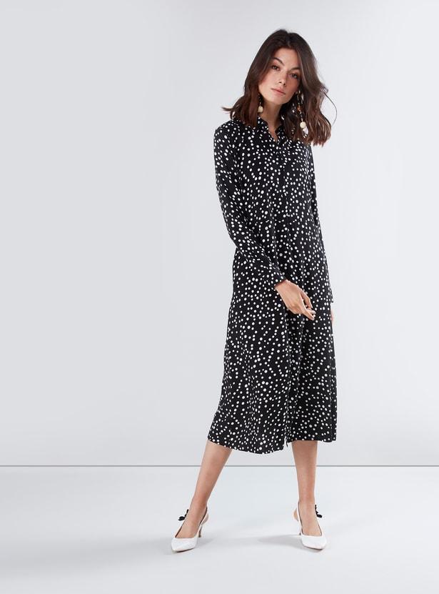Printed Midi Shirt Dress with Long Sleeves