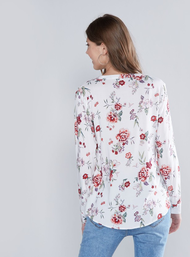 Floral Printed V-neck Shirt with Long Sleeves and Patch Pocket