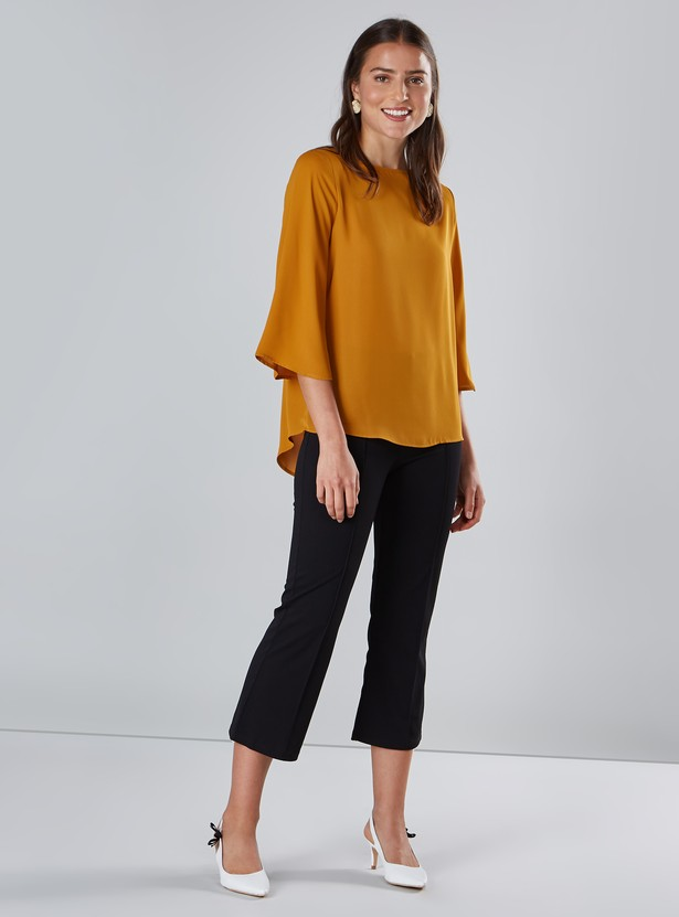 Solid Top with Round Neck and 3/4 Sleeves