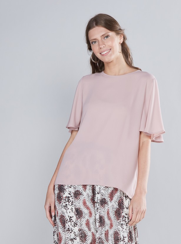 Solid Top with Round Neck and Short Flared Sleeves