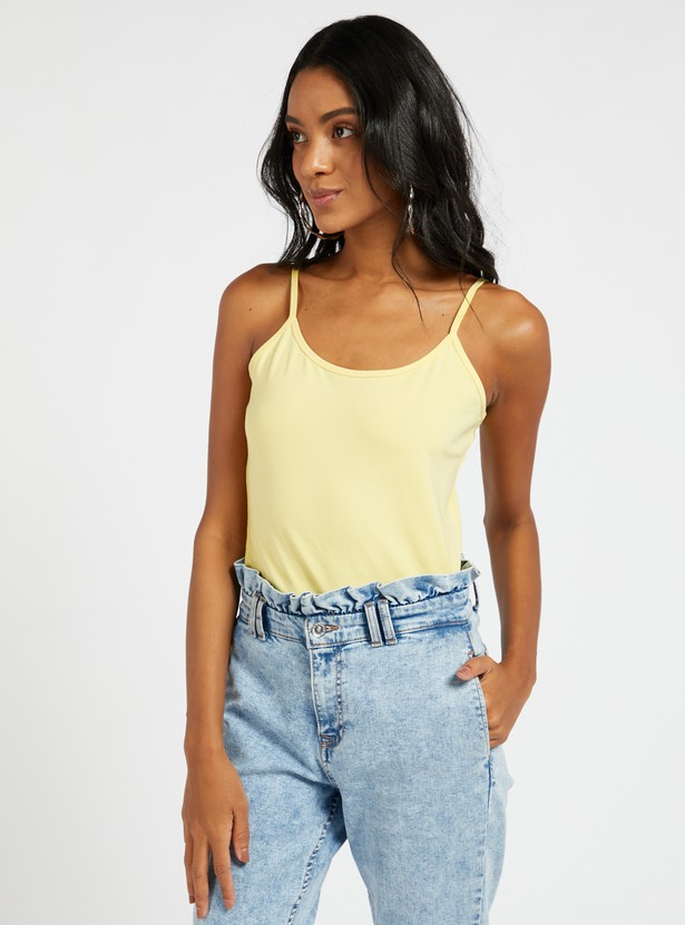 Solid Sleeveless Camisole with Scoop Neck